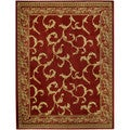 "Floral Traditional Red Ivory 7'10"" x 10'6"" Area Rug Pasha Collection"