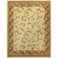 "Floral Traditional Ivory Red 5'3"" x 6'11"" Area Rug Pasha Collection"