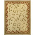 Pasha Collection Floral Traditional Ivory Red 7'10 x 10'6 Area Rug