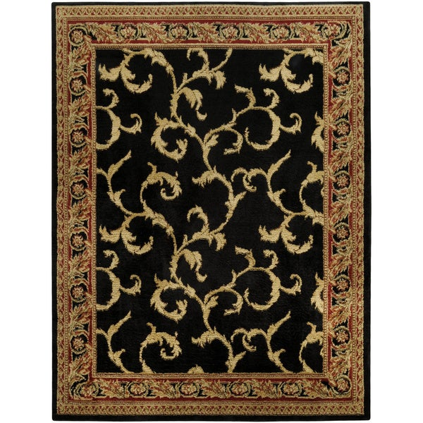 Pasha Collection Floral Traditional Black Ivory 3'3 x 5' Area Rug