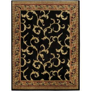 "Floral Traditional Black Ivory 5'3"" x 6'11"" Area Rug Pasha Collection"