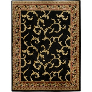 Pasha Collection Floral Traditional Black Ivory 5'3 x 6'11 Area Rug