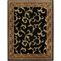 Pasha Collection Floral Traditional Black Ivory 7'10 x 10'6 Area Rug