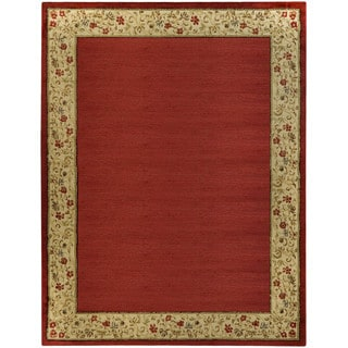 Pasha Collection Solid French Border Red Ivory 7'10 x 10'6 Area Rug