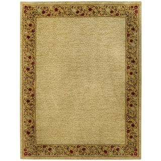 "Solid French Border Ivory Red 5'3"" x 6'11"" Area Rug Pasha Collection"