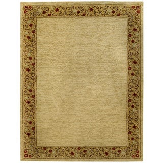 Pasha Collection Solid French Border Ivory Red 5'3 x 6'11 Area Rug