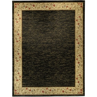 "Solid French Border Black Ivory 5'3"" x 6'11"" Area Rug Pasha Collection"