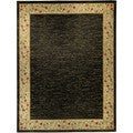 Pasha Collection Solid French Border Black Ivory 5'3 x 6'11 Area Rug
