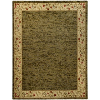 Pasha Collection Solid French Border Sage Green 5'3 x 6'11 Area Rug