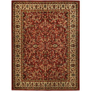 "Traditional Floral Garden Red 5'3"" x 6'11"" Area Rug Pasha Collection"