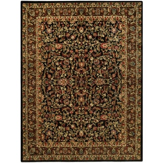 Pasha Collection Traditional Floral Garden Black 5'3 x 6'11 Area Rug