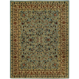 "Traditional Floral Garden Ocean Blue 5'3"" x 6'11"" Area Rug Pasha Collection"