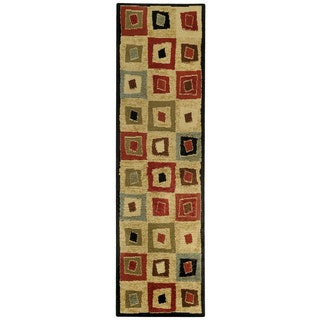 Pasha Collection Multicolor Squares Contemporary 2'7 x 10 Runner Rug