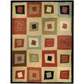 Pasha Collection Multicolor Squares Contemporary 3'3 x 5' Area Rug