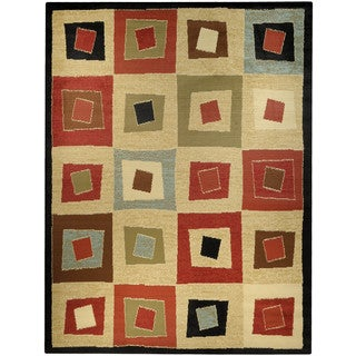Pasha Collection Multicolor Squares Contemporary 7'10 x 10'6 Area Rug