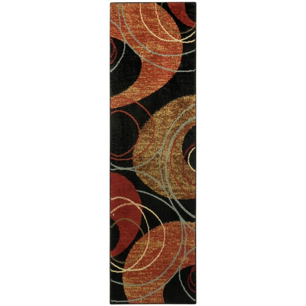 Pasha Collection Black Interlock Circles Contemporary 1'11 x 6'11 Runner Rug