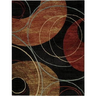 "Black Interlock Circles Contemporary 5'3"" x 6'11"" Area Rug Pasha Collection"