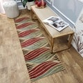 Striped Wave Ivory Contemporary Rug (2'7 x 10' Runner)