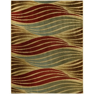 Striped Wave Ivory Contemporary Area Rug (5'3 x 6'11)