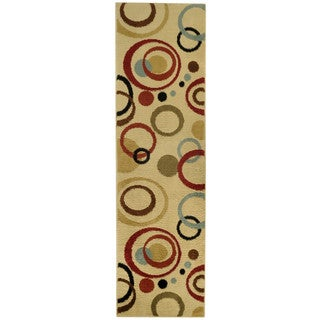 Multicolored Circles Ivory Contemporary Rug (2'7 x 10' Runner)