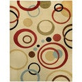 "Multicolor Circles Ivory Contemporary 5'3"" x 6'11"" Area Rug Pasha Collection"