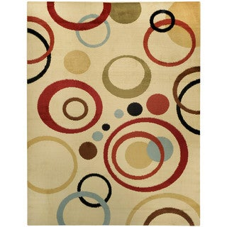 Multicolored Circles Ivory Contemporary Area Rug (7'10 x 10'6)