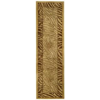 Ivory and Brown Tiger Animal Print Rug (1'11 x 6'11 Runner)