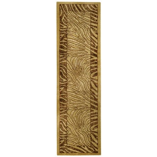Ivory and Brown Tiger Animal Print Rug (2'7 x 10' Runner)