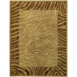 Ivory and Brown Tiger Animal Print Area Rug (5'3 x 6'11)