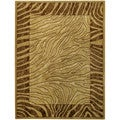 "Ivory & Brown Tiger Animal Print5'3"" x 6'11"" Area Rug Pasha Collection"