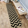 "Chevron Design Black & Ivory 1'11"" x 6'11"" Runner Rug Pasha Collection"