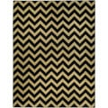 Chevron Design Black and Ivory Area Rug (5'3 x 6'11)
