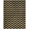 "Chevron Design Black & Ivory 5'3"" x 6'11"" Area Rug Pasha Collection"