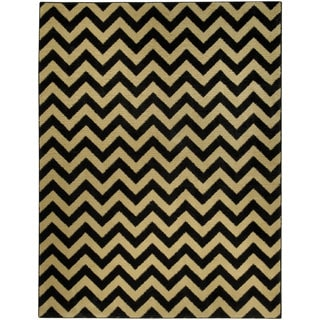 "Chevron Design Black & Ivory 7'10"" x 10'6"" Area Rug Pasha Collection"