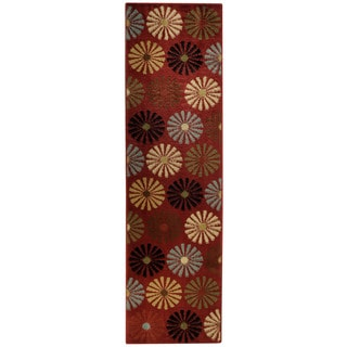 Floral Lake Red Contemporary Rug (2'7 x 10' Runner)