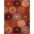 Floral Lake Red Contemporary Area Rug (5'3 x 6'11)