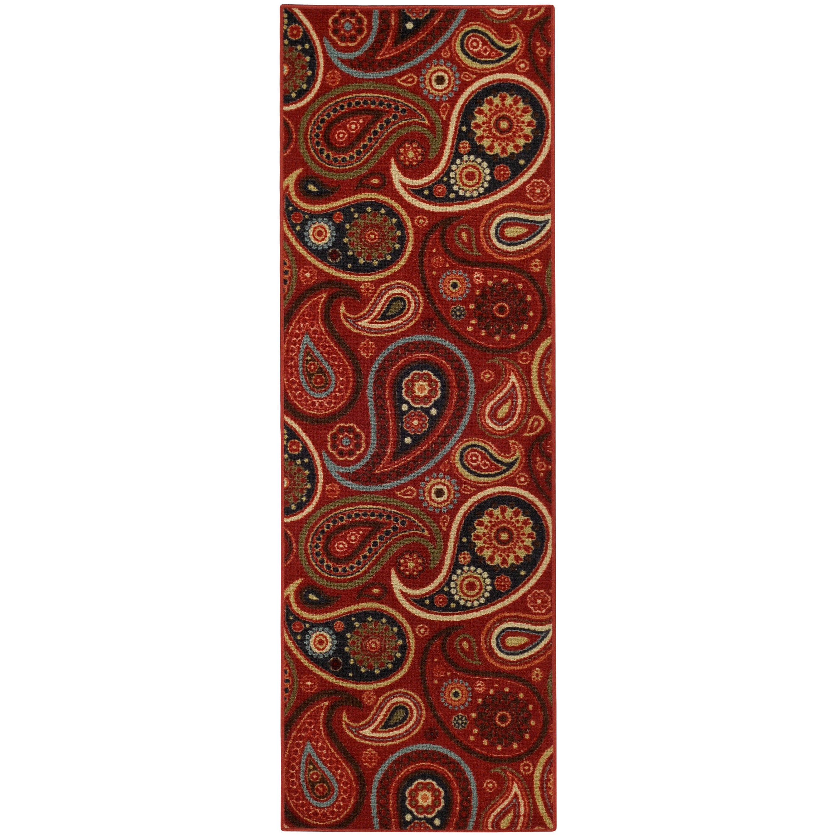 "Rubber Back Red Paisley Floral Non-skid Runner Rug (22"" x 6'9) at Sears.com"