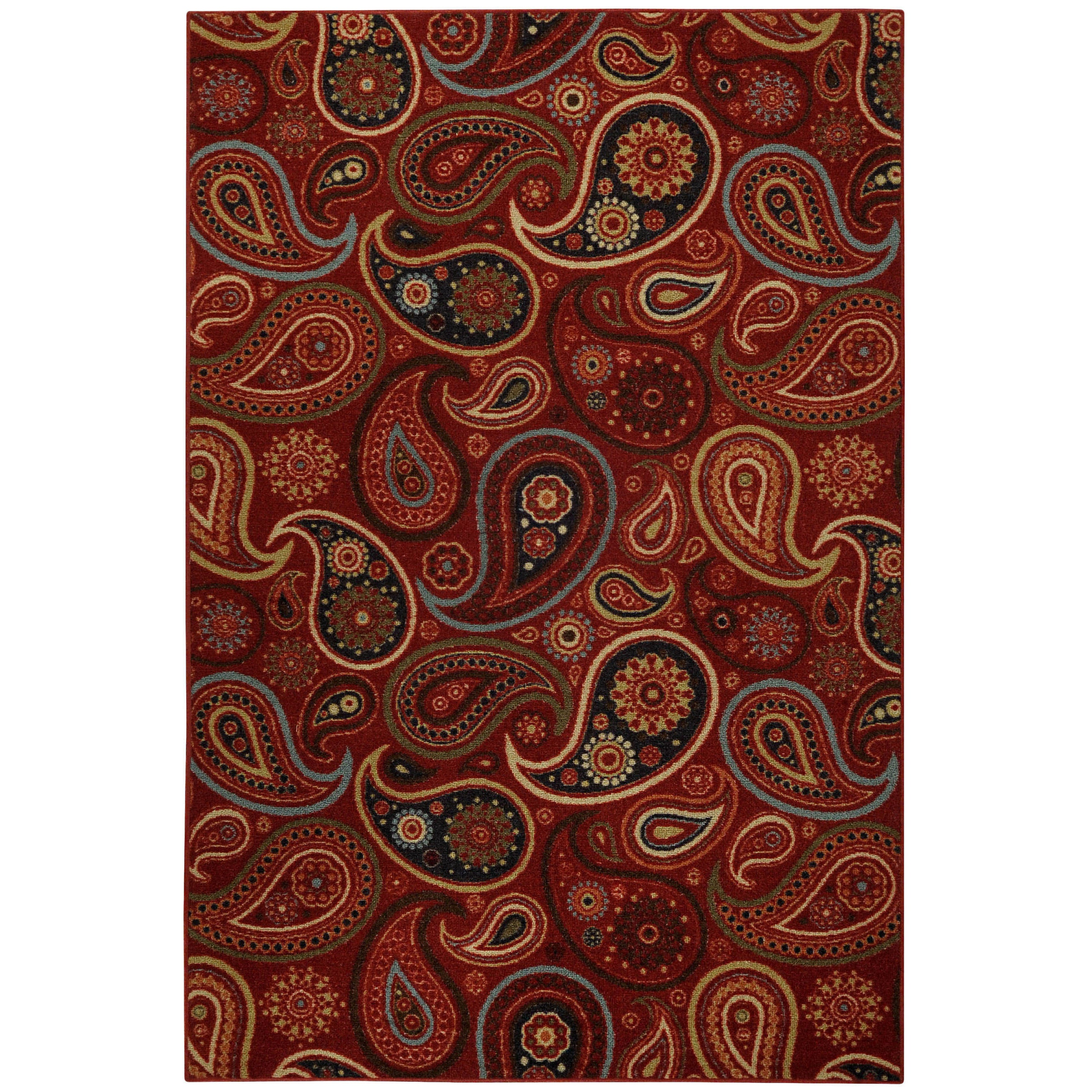 Rubber Back Red Paisley Floral Non-Skid Area Rug (3'3 x 5') at Sears.com