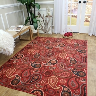 Rubber Back Red Paisley Floral Non-Skid Area Rug (5' x 6'6)