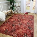 Rubber Back Red Paisley Floral Non-Skid Area Rug 5' x 6'6""