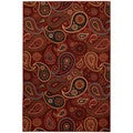 Rubber Back Red Paisley Floral Non-Skid Area Rug (7'10 x 9'8)
