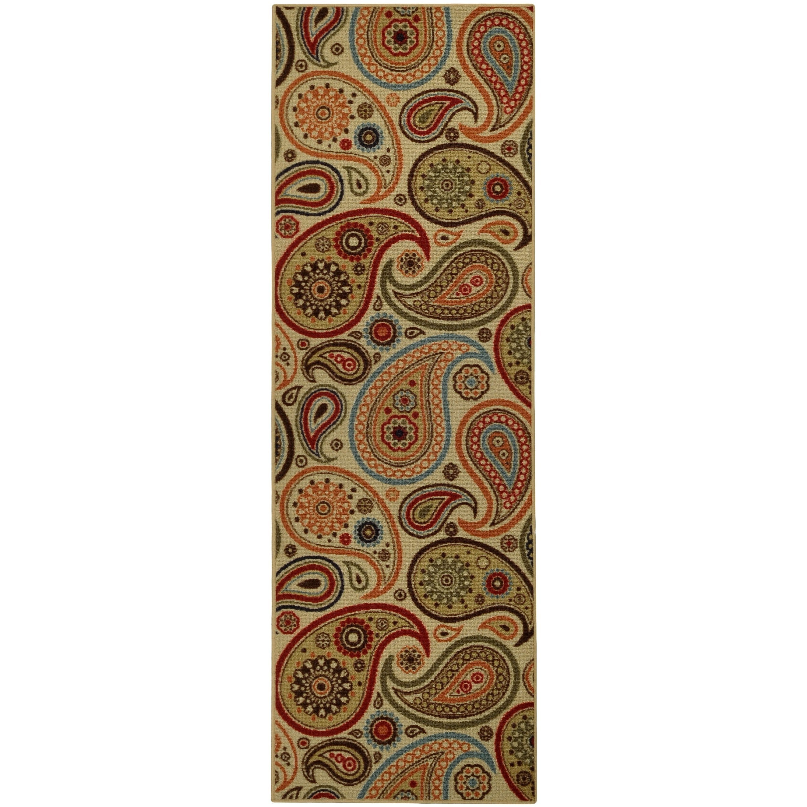 "Rubber Back Ivory Paisley Floral Non-Skid Runner Rug (22"" x 6'9) at Sears.com"