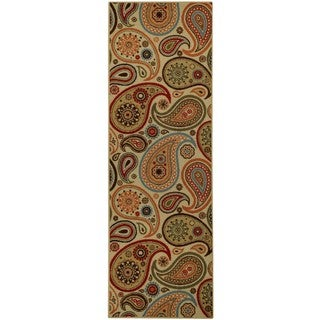 """Rubber Back Ivory Paisley Floral Non-Skid Runner Rug (22"""" x 6'9)"""
