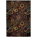 Rubber Back Black Charcoal Paisley Floral Non-Skid Area Rug 3'3