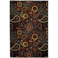 Rubber Back Black Charcoal Paisley Floral Non-Skid Area Rug 5' x 6'6