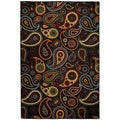 Rubber Back Black Charcoal Paisley Floral Non-Skid Area Rug (6'7 x 9'3)