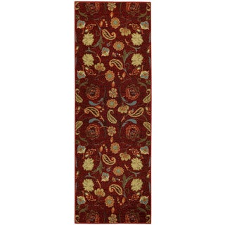 "Rubber Back Burgundy Red Multicolor Floral Non-Skid Runner Rug (22"" x 6'9)"
