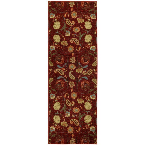 "Rubber Back Burgundy Red Multicolor Floral Non-Skid Runner Rug (22"" x 6'9)"