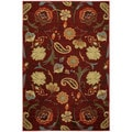 "Rubber Back Burgundy Red Multicolor Floral Non-Skid Area Rug 3'3"" x 5'"