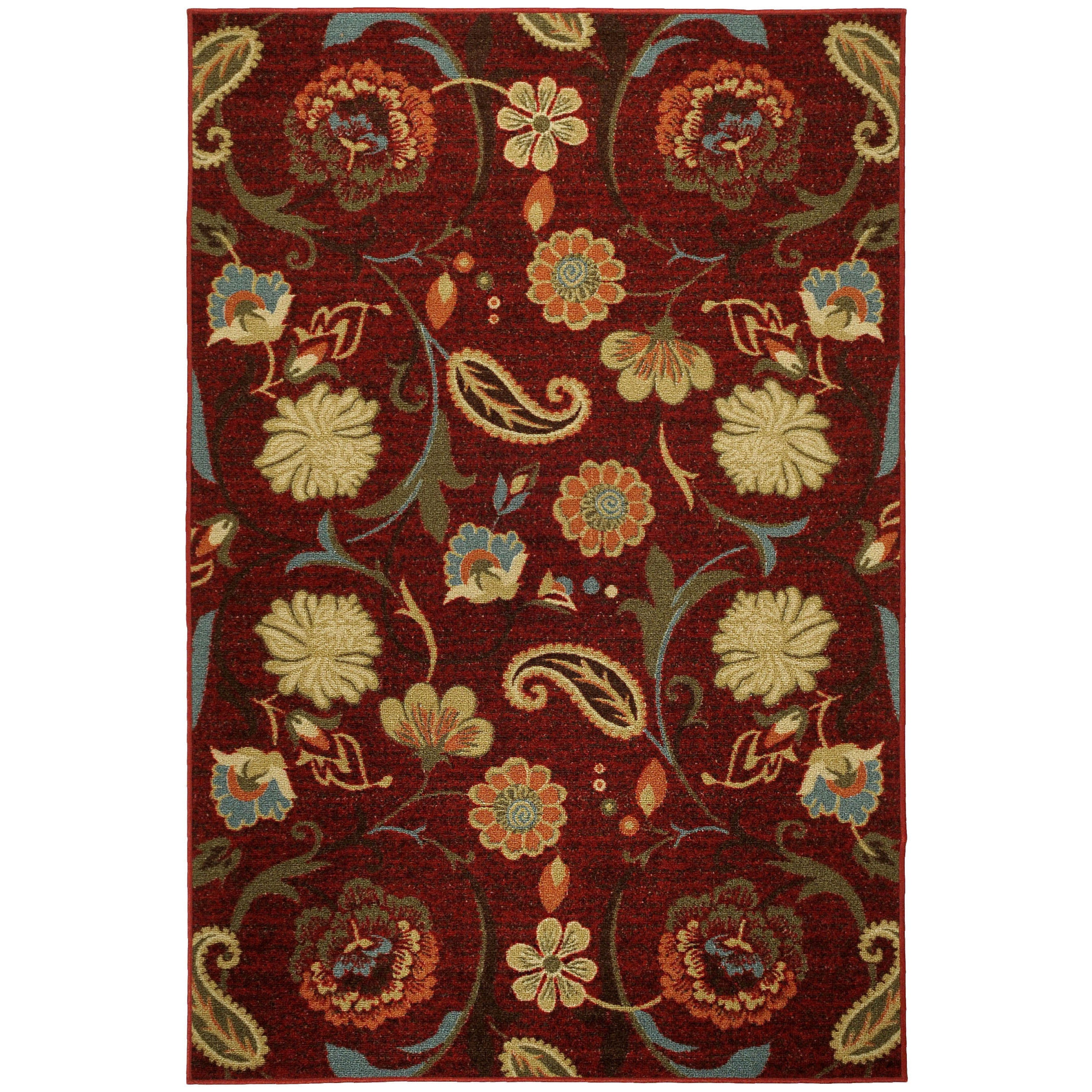 Rubber Back Burgundy Red Multicolor Floral Non-Skid Area Rug (5' x 6'6) at Sears.com